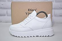 Жіночі демісезонні білі напівчеревики на платформі натуральна шкіра Dino Vittorio