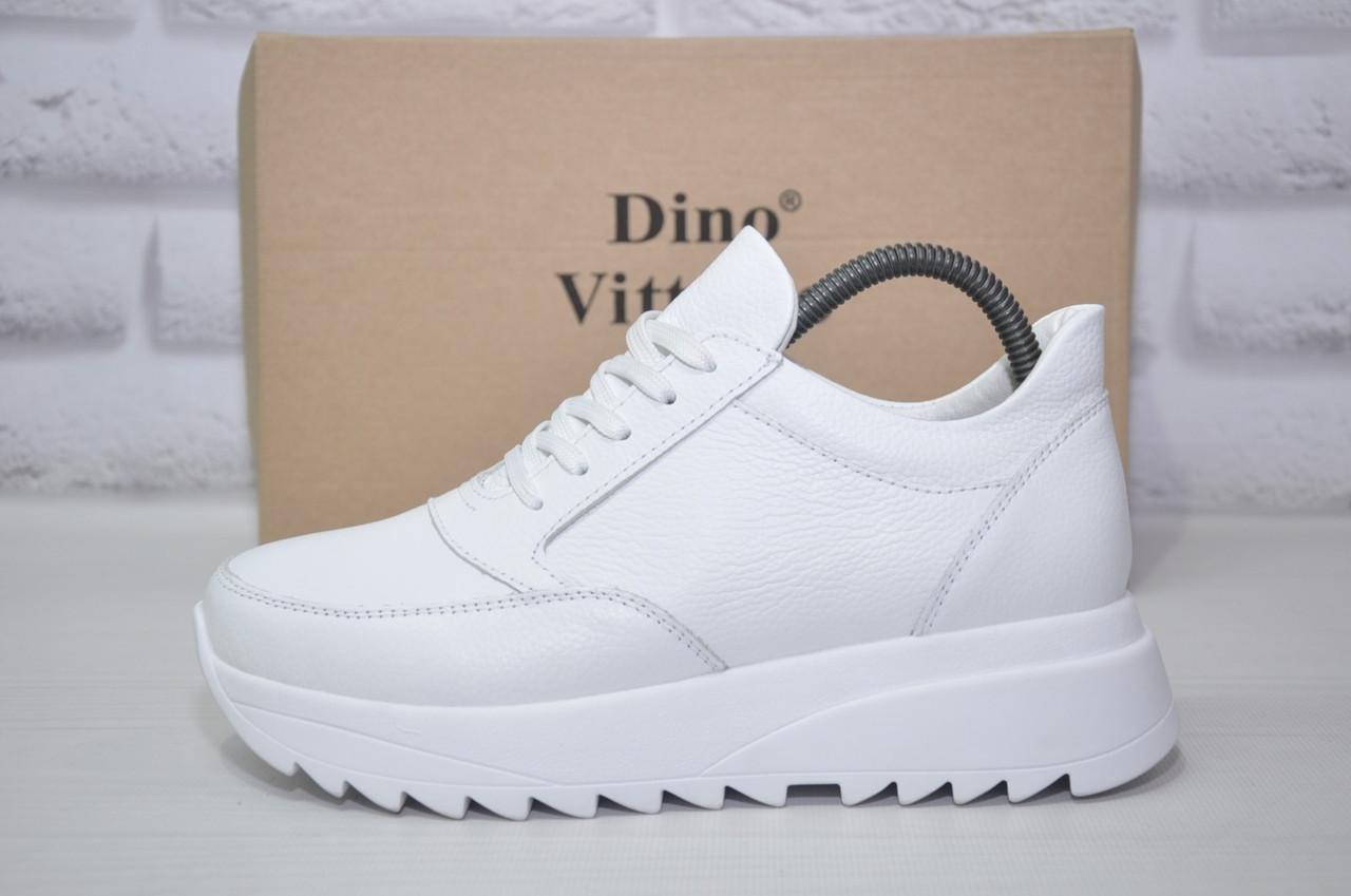 Женские демисезонные белые ботинки на платформе натуральная кожа Dino Vittorio