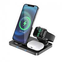 Беспроводная зарядка QI Hoco для айфона Док-станция для iPhone + iWatch + Airpod 15W 3в1 Wireless Fast Charger