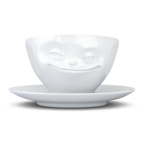 """Фарфоровая чашка с блюдцем для кофе из серии эмоциональной посуды от бренда Tassen """"Усмешка""""  200 мл"""