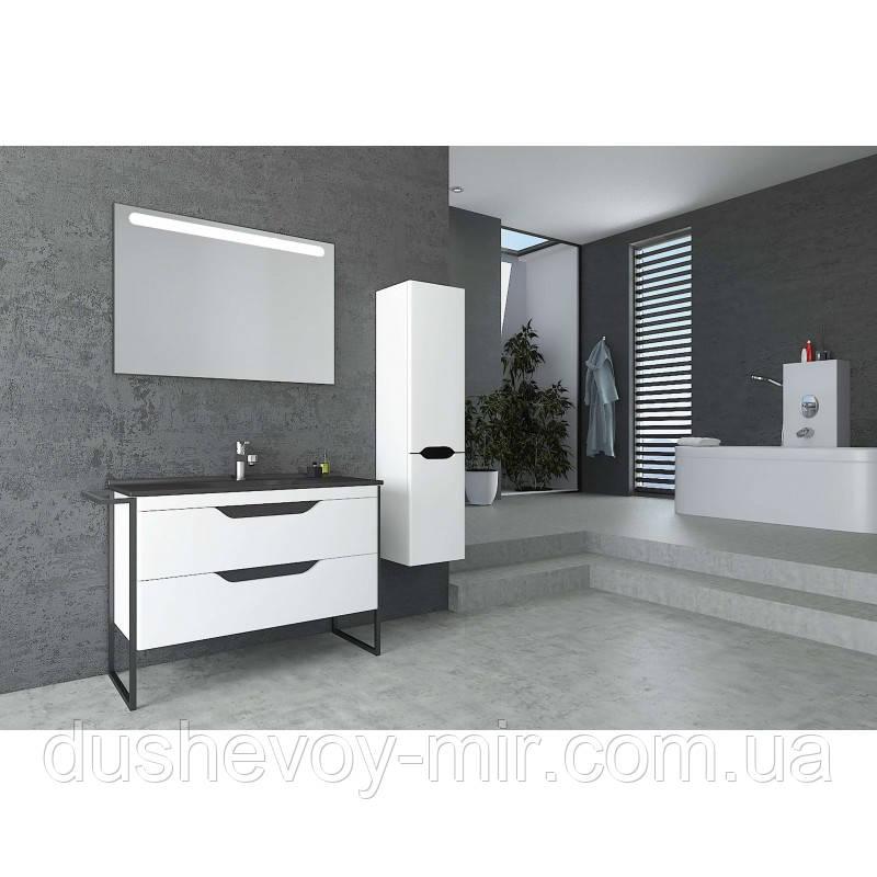 Напольная тумба с умывальником Veronis Metawood 100 белый с черным 100х45х84 + зеркало