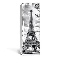 Наклейка на холодильник черно-белая Эйфелева башня виниловая 3Д наклейка декор на кухню самоклеющаяся