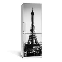 Наклейка на холодильник черно-белая Эйфелева башня 01 650х2000мм виниловая 3Д наклейка декор на кухню