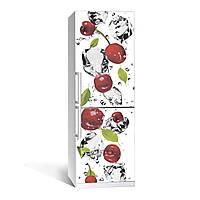 Наклейка на холодильник Черешня 650х2000мм виниловая 3Д наклейка декор на кухню самоклеющаяся
