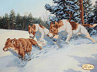 """Рисунок на ткани для вышивания бисером """"Погоня. Собаки"""""""