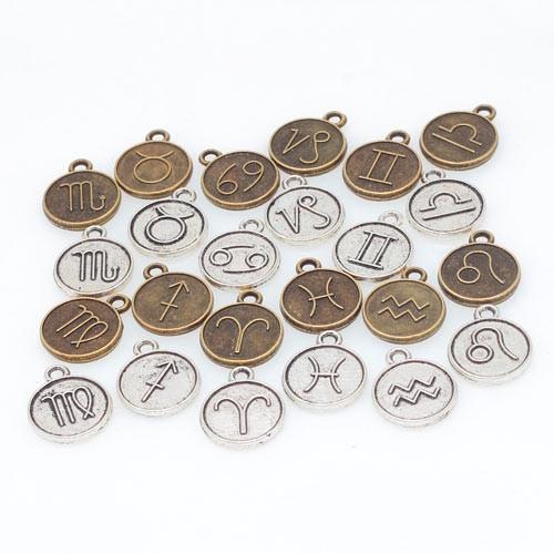Набір з 24 металевих підвісок шармов шармиков, знаки зодіаку 2005-05722