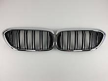 Ніздрі BMW 5 Series G30 / G31 / F90 2017-2020 рік Чорні Глянсові Хром Рамка ( Подвійні M-Look )