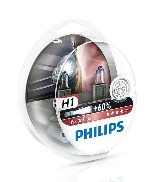 Лампа галогенна PHILIPS Vision Plus+60% H1 55W 12V 2шт