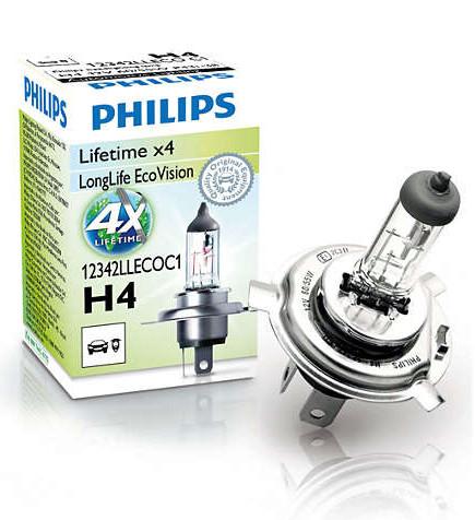 Лампа галогенна PHILIPS LongLife EcoVision H4 60/55W 12V