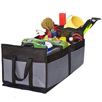 "Сумка-органайзер в багажник каркасная 520х300х200мм черно-серая ткань PVC ""Штурмовик"" АС-1537"