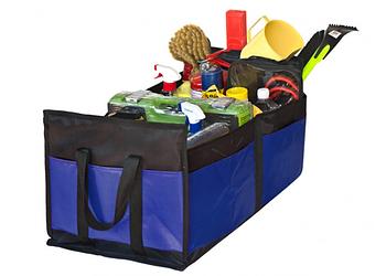 """Сумка-органайзер в багажник каркасная 520х300х200мм черно-синяя ткань PVC """"Штурмовик"""" АС-1537"""