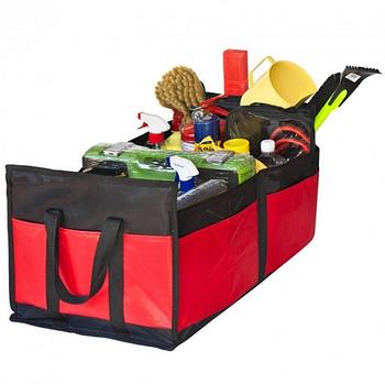 "Сумка-органайзер в багажник каркасная 600х370х250мм черно-красная ткань PVC ""Штурмовик"" АС-1536"