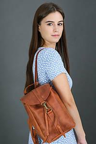Жіночий шкіряний рюкзак Київ, розмір міні, натуральна Вінтажна шкіра колір коричневый, оттенок Коньяк