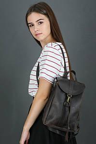 Жіночий шкіряний рюкзак Київ, розмір міні, натуральна Вінтажна шкіра колір коричневый, оттенок Шоколад