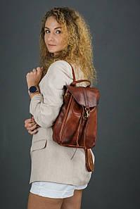 Жіночий шкіряний рюкзак Київ, розмір міні, натуральна шкіра італійський Краст колір коричневий, відтінок Вишня