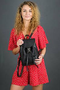 Жіночий шкіряний рюкзак Київ, розмір міні, натуральна шкіра італійський Краст колір коричневий, відтінок Кава