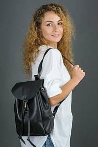 Жіночий шкіряний рюкзак Київ, розмір міні, натуральна шкіра італійський Краст колір Чорний
