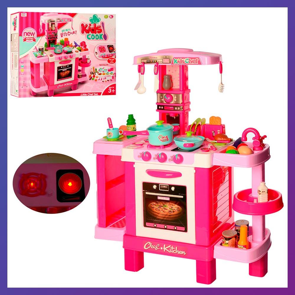 Детская большая интерактивная кухня 008-938 плита духовка звук свет посуда продукты розовая