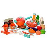Детская большая интерактивная кухня 008-938 плита духовка звук свет посуда продукты розовая, фото 3