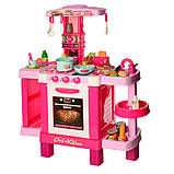 Детская большая интерактивная кухня 008-938 плита духовка звук свет посуда продукты розовая, фото 4