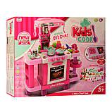 Детская большая интерактивная кухня 008-938 плита духовка звук свет посуда продукты розовая, фото 5