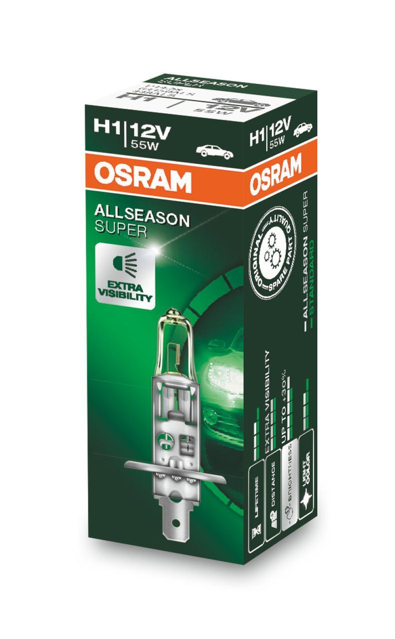 Автолампи Osram H1 12V 55W ALLSEASON/SUPER (64150ALS)
