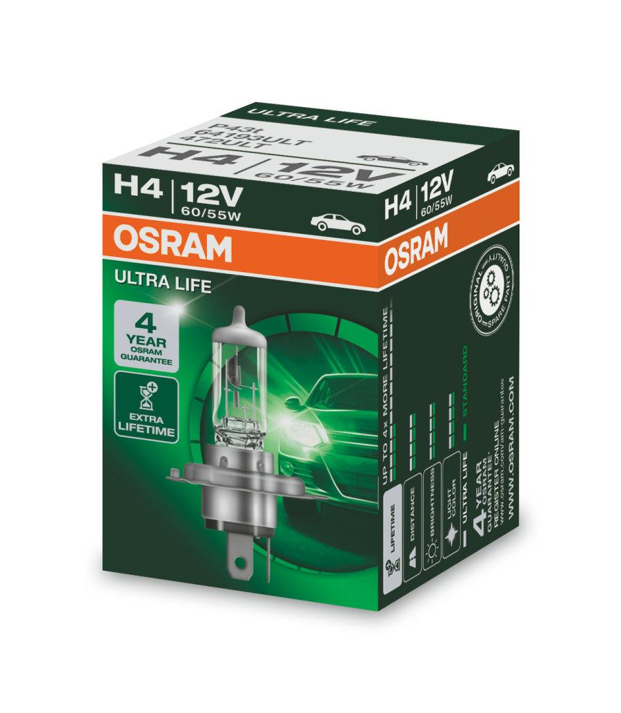 Автолампи Osram H4 60/55W 12V ULTRA LIFE (64193ULT)