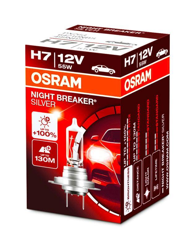 Автолампа Osram NIGHT BREAKER SILVER +100% H7 55W 12V (64210NBS)
