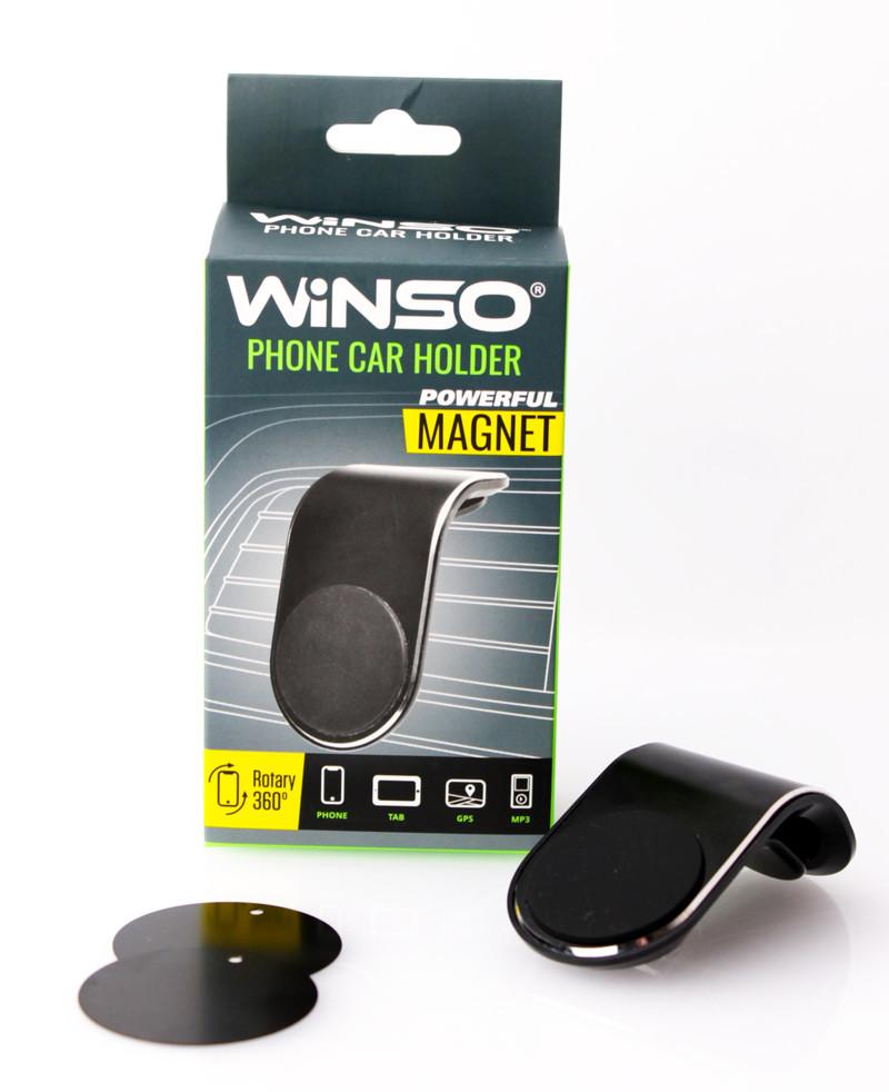Авто тримач для телефону WINSO, магнітний на дефлектор обдування салону, чорний
