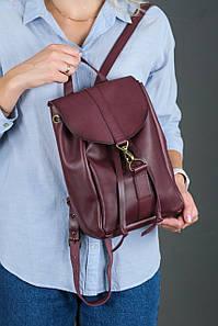 Жіночий шкіряний рюкзак Київ, розмір міні, натуральна шкіра італійський Краст колір Бордо