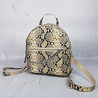 """Женский кожаный рюкзак """"Judy"""" бежевая имитация под питона, фото 1"""