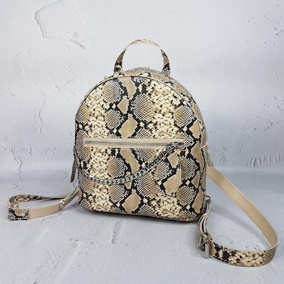 """Женский кожаный рюкзак """"Judy"""" бежевая имитация под питона"""