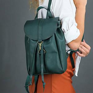 Жіночий шкіряний рюкзак Київ, розмір міні, натуральна шкіра італійський Краст колір Зелений