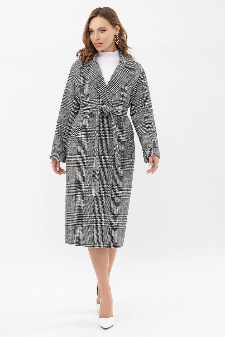 Красивое демисезонное женское пальто Glem клетка черно-серое