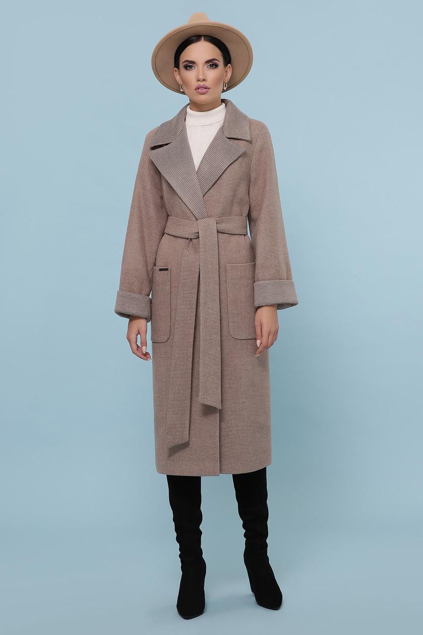 Очаровательное демисезонное женское пальто Glem прямого силуэта коричневое