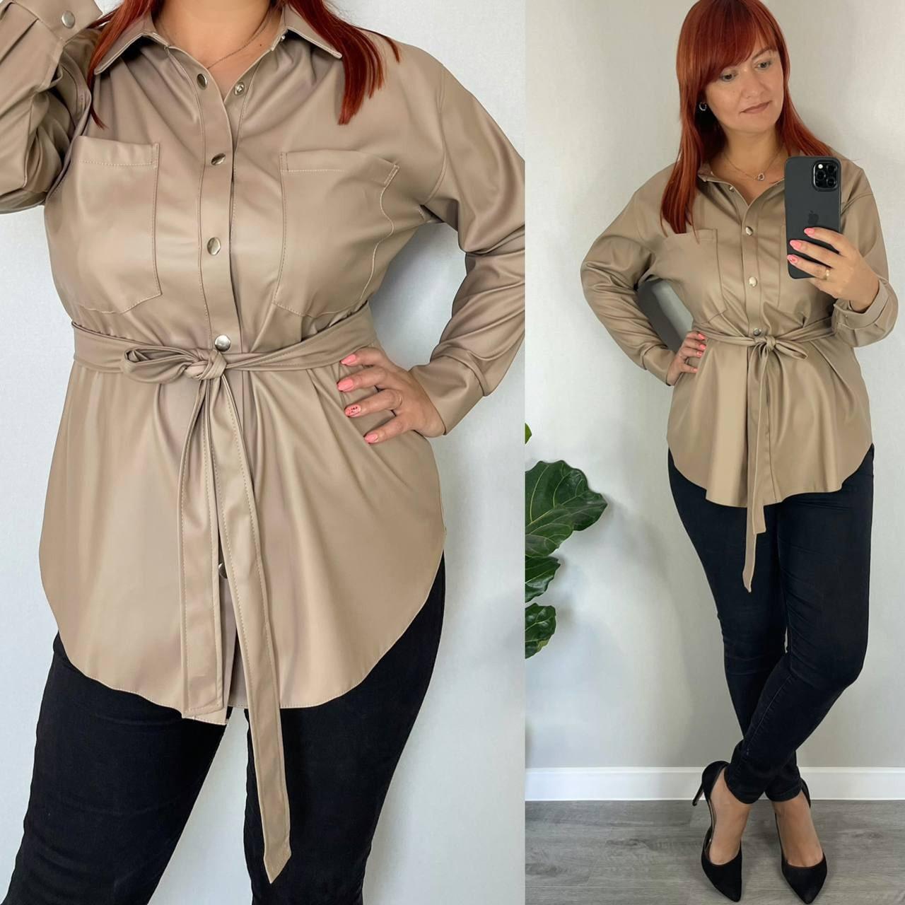 Женская рубашка из эко-кожи большого размера