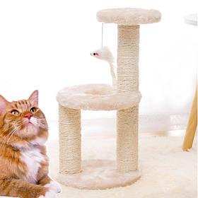 Когтеточка для кота с полками и игрушкой Taotaopets 0072203 Beige 41*20*18,5 см