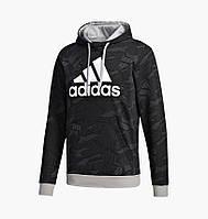 Худи Adidas Essentials Allover Print Hoodie Black/Grey GD5489