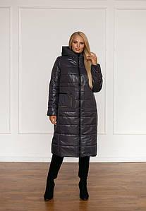 Женское зимнее плащевое пальто больших размеров 48-58