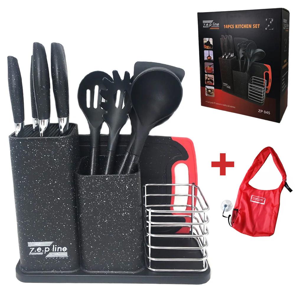 Набір кухонного приладдя та ножів з підставкою 14 предметів Zepline ZP 045