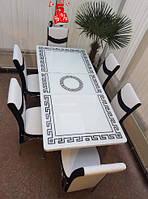 Обеденная группа комплект кухонной мебели стол и 6 стульев,Roma каленное стекло с декором для кухни