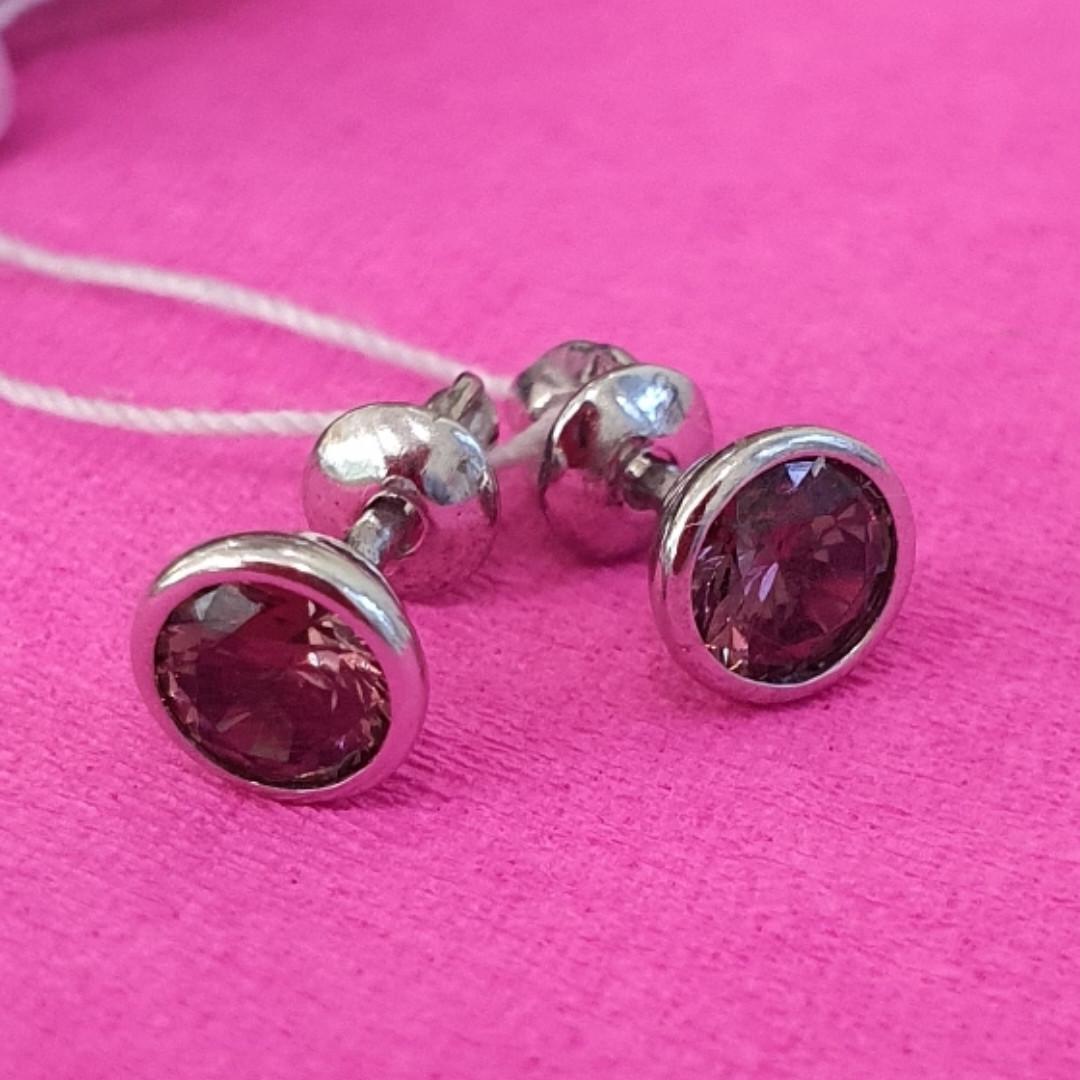 Серьги пусеты серебро с фианитами - Серебряные серьги гвоздики с цирконием