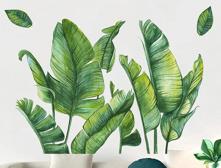 """Вінілові наклейки на стіну, вікна, двері """"зелене листя, папороть"""" 115см*98см (лист 60*90см)"""