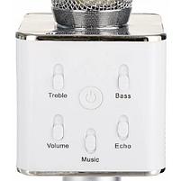 Беспроводной микрофон караоке Q7 Серебрянный, фото 3