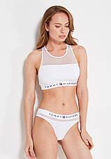 Чорна жіноча білизна Комплект жіночої білизни топ і труси стрінги, фото 3