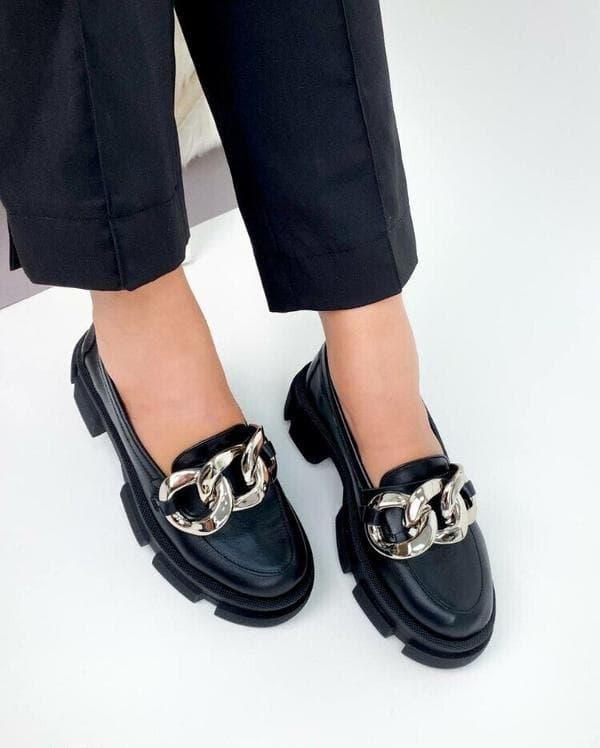 """Женские туфли на массивной подошве, Туфли лоферы на тракторной подошве с цепью натуральная кожа """"Lima"""""""