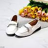 Удобные классические повседневные белые женские мокасины с декором 36-23 38-24,5 39-25 40-26см, фото 4