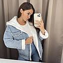Женская джинсовая курточка на меху, джинсовка на меху, ветровка женская с капюшоном, фото 2
