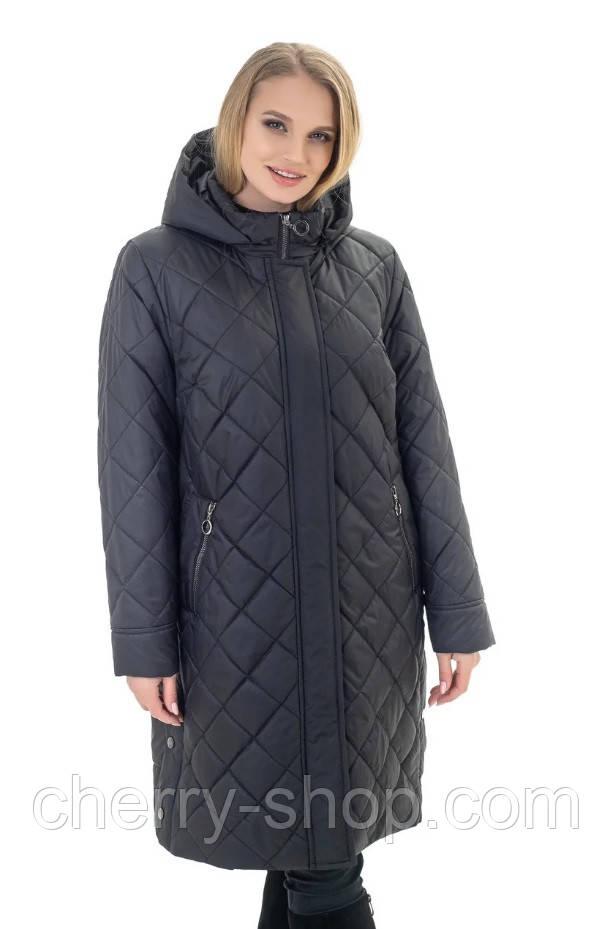 Женская чёрная куртка - плащ больших размеров