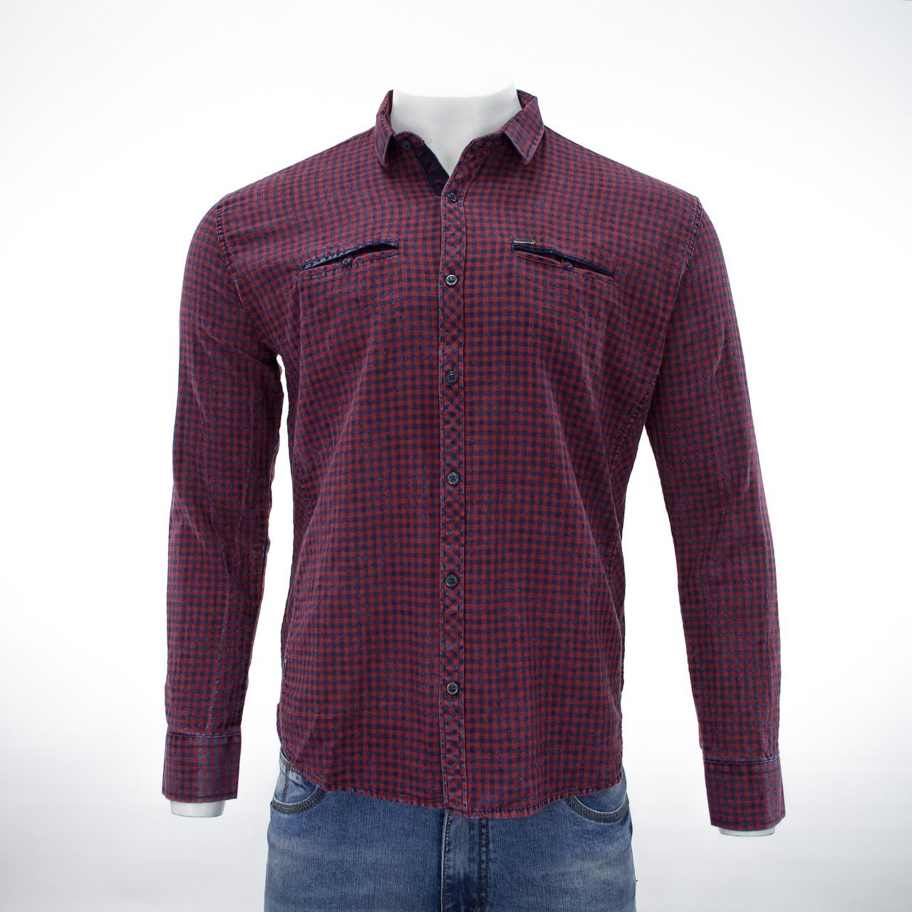 Сорочка чоловіча, приталена (Slim Fit), з довгим рукавом Bagarda JP2703 CLARET RED 100% бавовна L(Р)